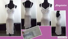 "Vtg *Komar* Wmn's '32 Tall' Lt Peach/Nude Nylon Lace Trim Full Slip (Length 43"")"