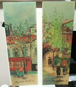 PAIR OF MAURICE UTRILLO MARKET STREET SCENE OLD COLOR LITHOGRAPHS