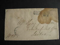 CANADA 1861 UNPAID 7 stampless cover but it is stained,still worth checking out!