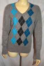 apt. 9 100% CASHMERE gray  Argyle fun V-neck Sweater size XL ladies