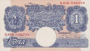 B249 PEPPIATT BLUE U43H £1 WORLD WAR II NOTE IN NEAR MINT TO MINT CONDITION