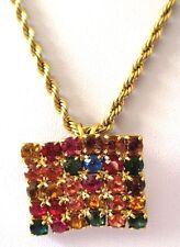pendentif bijou vintage couleur or chaîne torsadée de qualité cristaux *3434