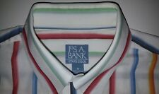Jos A Bank Stays Cool Multi Color Striped Shirt Mens Medium Really Sharp