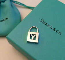 """TIFFANY & CO. Sterling Silver Letter """"Y"""" Padlock Charm Pendant"""