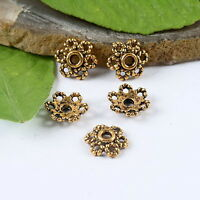 60pcs dark gold-tone crafted flower spacer beads h1334