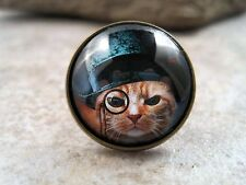 Handmade Antique Bronze Steampunk Cat Tie Tack - Brooch