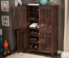 Large Shoe Storage Cabinet 18 Pair Entryway Foyer Organizer Shelf Rack Furniture