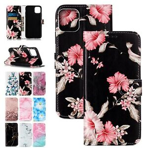 For iPhone 13 12 11 Pro XS Max 6-8+ Marble Wallet Leather Flip Phone Case Cover
