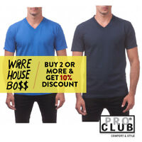 PROCLUB PRO CLUB MENS PLAIN V NECK SHORT SLEEVE T SHIRT CASUAL COTTON TEE ACTIVE