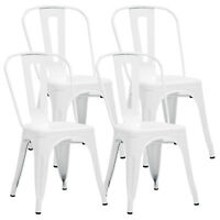 Mecor White Metal Dining Café Chair Set of 4 Armless Kitchen Chair Side Chair