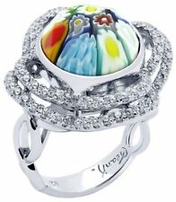 ALAN K. LARGE ROUND RING CLOVER CZ BASKET MULTICOLOR MURANO GLASS & STERL/SILVER