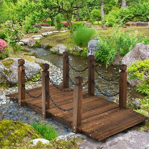 Holzbrücke Teichbrücke Gartenbrücke Brücke Dekobrücke mit Geländer bis zu 120 kg