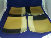 "Set of 4 Sango Gold Dust Black Square Salad Plates 8 1/8"" 5022 EXCELLENT COND"