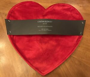 Cnythia Rowley Heart Shaped Red Velvet Valentine's Day Placemats (SET OF 4)