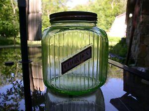 Vintage Anchor Hocking Green Depression Glass ribbed Cookie Jar Canister Gd +