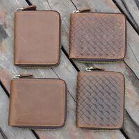 RFID Blocking Durable Mens Bifold Wallet Genuine Cowhide Leather Zip-Around