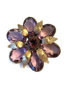 Vintage JOSEFF (of Hollywood) Signed Purple Amethyst Crystal Floral Pin