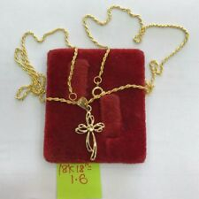 Gold Authentic 18k saudi gold necklace with pendant,,k