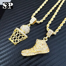 "Hip Hop Iced JORDAN SHOE & BASKETBALL Pendant w/ 24"" Chain 2 Bling Necklace Set"