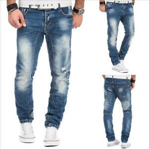 Herren Jeans Jeanshose Herrenhose Hose washed destroyed distressed blau