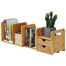 Expandable Desktop Bookshelf Bamboo Desk Organizer With 2 Storage Drawers Wellan