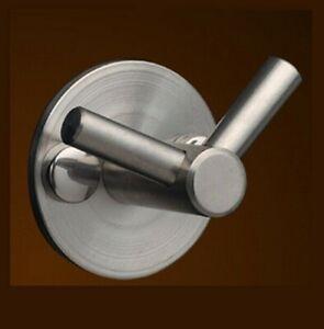 Double Hook Holder Robe Towel Jacket Coat Bathroom Kitchen Stainless Steel Matt