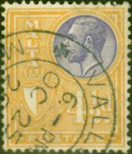 Malta 1927 4 1/2d Lavender & Ochre SG164 Fine Used