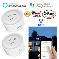 2-Pack Smart Wi-Fi Mini Outlet Plug Switch Work With Echo Alexa Remote Phone APP