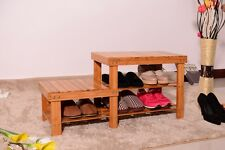 Nature Bamboo Shoe Rack Bench Stool Storage Display Rack Seat Kid Adult Shoes