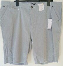 M & S Per Una Roma Shorts Uk 24 Navy Striped Ivory Stretch Bnwt Cotton