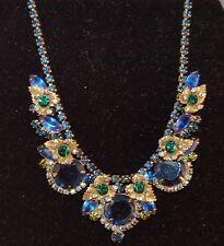 DECADENT Juliana DeLizza & Elster Layered Sapphire Blue AB Rhinestone Necklace!