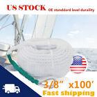 3/8 x100' Three Strand Twisted Anchor Marine Mooring Rope Boat Dock Line Thimble