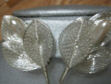 Germany Silver Leaf Theme Earrings With A Pearl Beautiful Vintage Conditio!