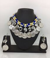Antique Oxidized Necklace Earrings Indian Diwali Jewelry Silver Bollywood Ethnic