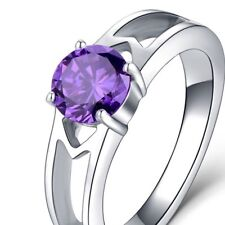 PURPLE  ~ CZ  ~ S/STEEL ~ SIZE:8 ~  RING -- (GREAT_CHRISTMAS_GIFT)