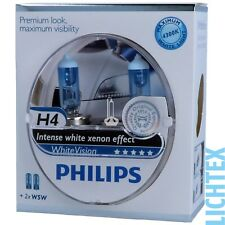 H4 + w5w PHILIPS WHITEVISION-Xenon Effect Headlights Lamp Duo Pack-Box New