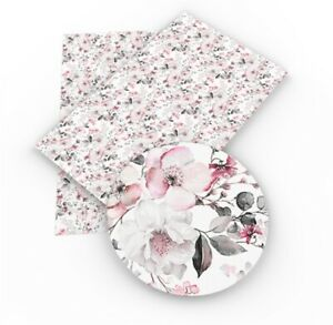 """Floral Pink Gray Floral FAUX LEATHER SHEET 9"""" X 12"""" WHOLESALE Flowers 1065687"""