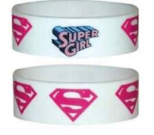 10 x Supergirl Rubber Wristbands,  party bag filler, Individually carded