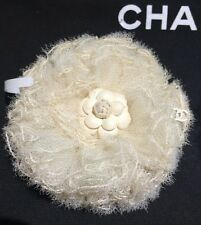 $800+ CHANEL 2016 Ivory Tulle Leather Camellia Flower CC Lace Brooch Pin NWT