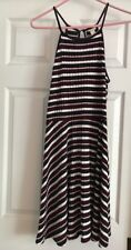 Mossimo Pink, White, Navy, Burgundy Striped Skater Dress Size Large
