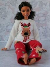 №153 Clothes for Curvy Barbie Doll. Flannel Pajamas for Dolls.