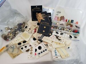 Vintage Lot of Buttons 1.5 Lbs Loose Carded Divider Box Novelty Gold Silver