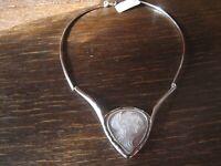 herrliches vintage Collier mit feiner Perlmutt Gemme Cameo Kamee 925er Silber