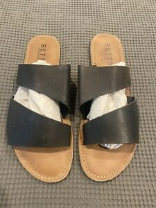 Womens Betts Sandals Brown Slip On Flats Black Strap Leather Size 10
