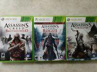 Assassins creed lot xbox 360, Brotherhood, Rogue, III 3, Ready to play, clean
