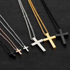 Small Children Boy Girl Silver Stainless Steel Cross Pendant Necklace Chain Gift