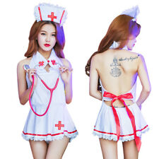 Fancy Sexy Womens Nurse Girl Dress Lingerie Hat+Lace Mini Skirt Cosplay Outfit