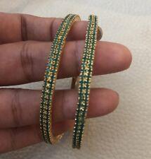 18k 14k on4k Yellow Gold Set 2 SlipOn Bracelet Bangle Stackable Jade Emerald