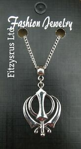 "Khanda Necklace 24"" Inch Chain Pendant Sikh"