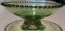 ANTIQUE EAPG COLORADO LACY MEDALLION FOOTED GREEN GLASS BOWL w GOLD TRIM